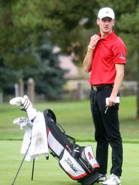 Aspen senior Dawson Holmes awaits the start of the second round of the Class 3A state golf tournament on Tuesday, Oct. 2, 2018 at Boulder Country Club.