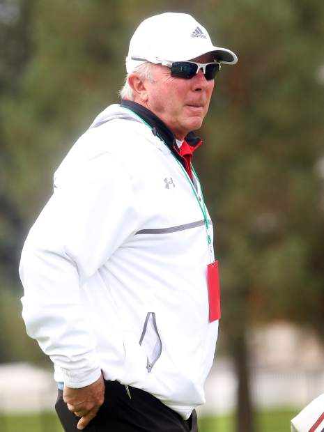 Aspen assistant golf coach Don Buchholz awaits the start of the second round of the Class 3A state golf tournament on Tuesday, Oct. 2, 2018 at Boulder Country Club.