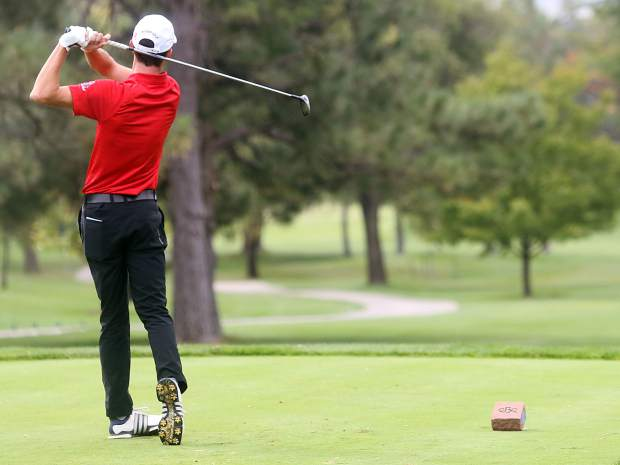 Aspen senior Dawson Holmes tees off from the first hole in the second round of the Class 3A state golf tournament on Tuesday, Oct. 2, 2018 at Boulder Country Club.