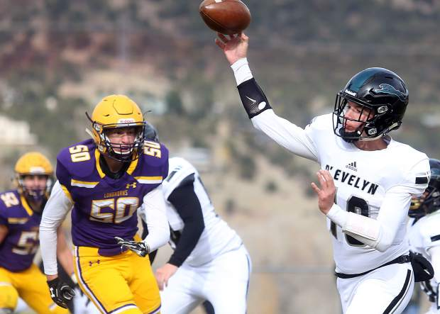 Basalt defender Teagan Magidson eyes the D'Evelyn quarterback on Saturday, Nov. 3, 2018, in Basalt. (Photo by Austin Colbert/The Aspen Times).