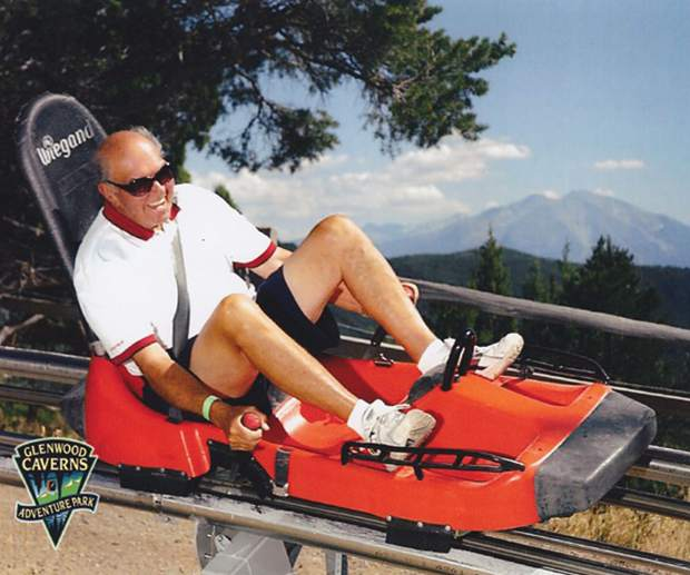 Lyle Beattie riding the Alpine Coaster at the Glenwood Caverns Adventure Park.