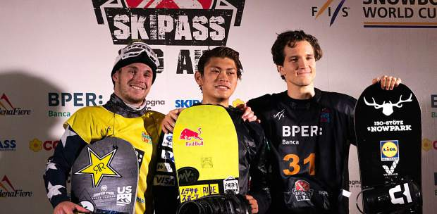 Local Summit County snowboarder Chris Corning (left) finished in second place behind big air winner Takeru Otsuka of Japan (center) at the FIS Snowboard World Cup big air event in Modena, Italy on Saturday, while Finland's Kalle Jarvilehto (right) finished in third place.