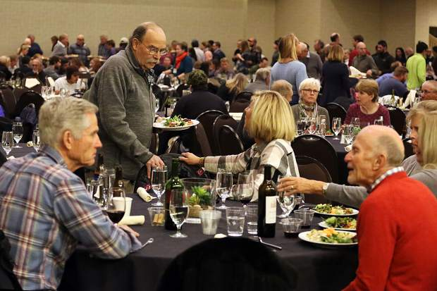 Snowmass Village residents chat during the annual John Bemis Thanksgiving community potluck and food drive on Nov. 18 at the Westin. The gathering is sponsored by Snowmass Chapel, The Rotary Club of Snowmass, the town of Snowmass and Alpine Bank.