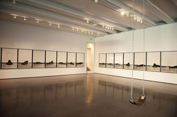 Works by collective artists at the galleries for the Lost Without Your Rhythm exhibit at the Aspen Art Museum.