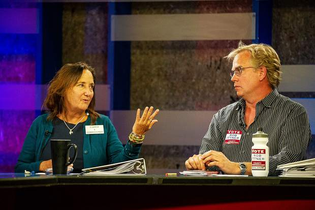 Pitkin County Commissioner Patti Clapper speaking during squirm night at GrassRoots in Aspen against opposing candidate Rob Ittner on Thursday evening.