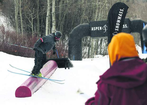 Trevor Adams competes in the Thanksjibbing rail jam contest on Friday, Nov. 23, 2018, at Snowmass Ski Area. (Photo by Austin Colbert/The Aspen Times).
