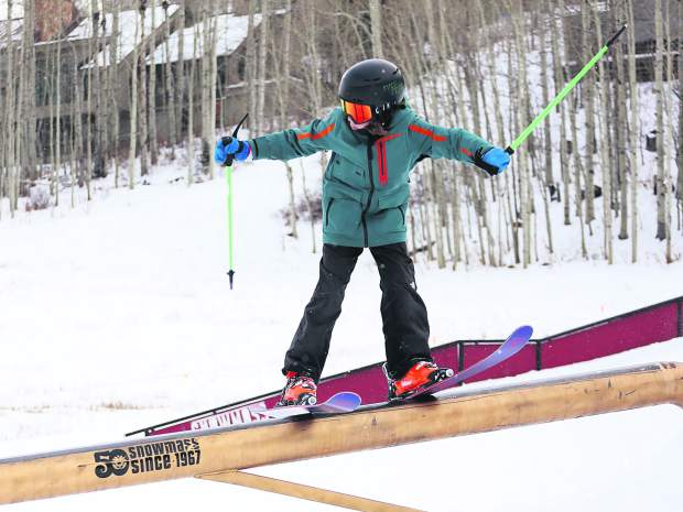 Thanksjibbing rail jam contest on Friday, Nov. 23, 2018, at Snowmass Ski Area. (Photo by Austin Colbert/The Aspen Times).