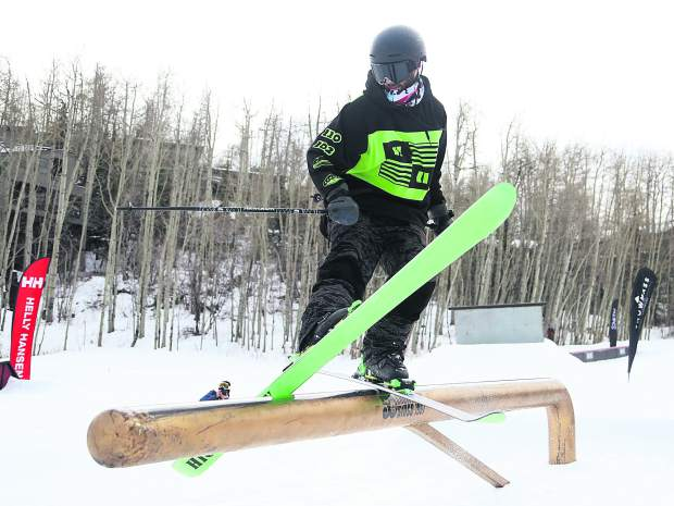 Nathan Berkel competes in the Thanksjibbing rail jam contest on Friday, Nov. 23, 2018, at Snowmass Ski Area. (Photo by Austin Colbert/The Aspen Times).