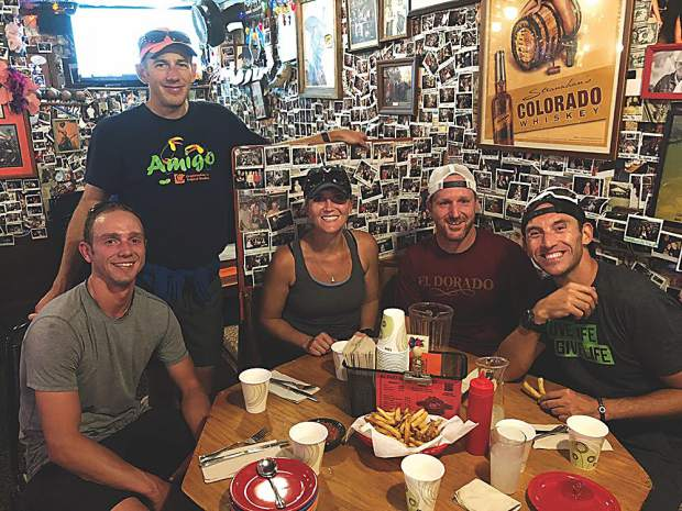 Chris Klug Foundation teammates at Woody Creek Tavern post-training run: Chris Lundgren, Bryan Geiszl, Virginia Edelson, Justin Todd and Charles Lucarelli. Courtesy photo.
