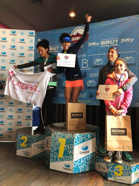 Challenge Aspen 2018 team coach Jennifer Mendez, center, clinched first place among all women runners at the Bariloche Marathon on Oct. 28 in Argentina. Courtesy photo.