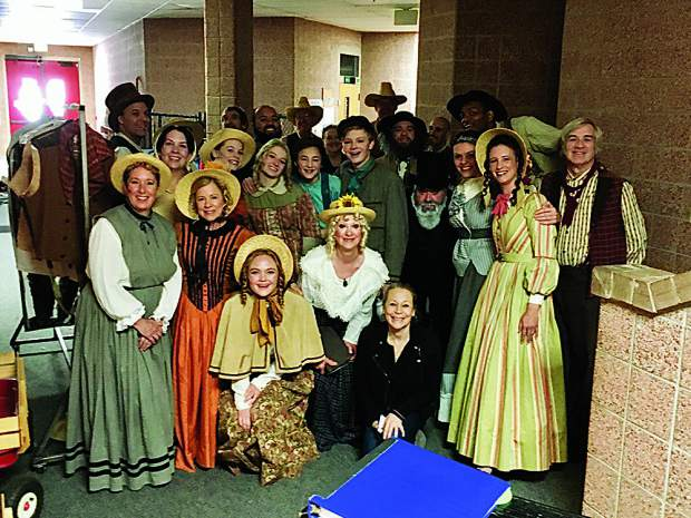 Aspen Community Theatre gathered after warm-up for one of their shows last weekend. Katriona Hembury photo.