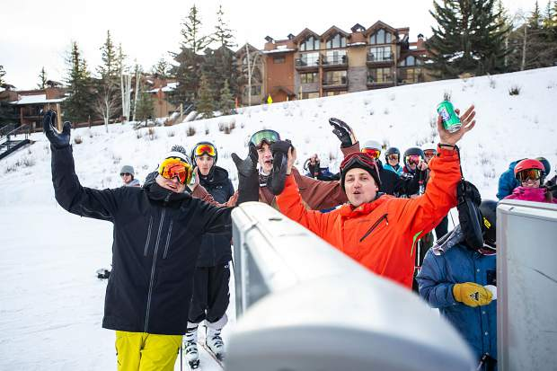 Adam Rickard, left, Trevor Beaudette, center, and Sean Maser were the first 3 in line at Snowmass opening day on Thursday.