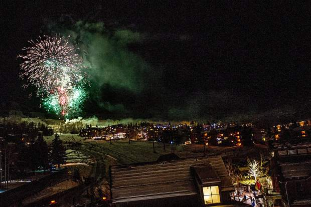 Fireworks shot over Fanny Hill Saturday evening for the Snowmass Base Village grand opening celebration.