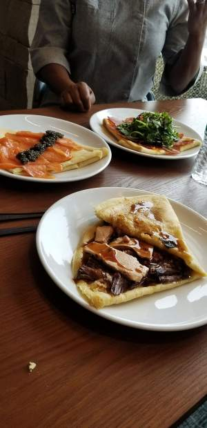 Some of the offerings at the new Crepe Shack at Snowmass Base Village including the $78 Courchevel crepe, which includes among other ingredients Petrossian duck foie gras, and the $120 Nordic Caviar crepe, which includes smoked salmon from Maine and Petrossian Classic Caviar shipped overnight from Paris.
