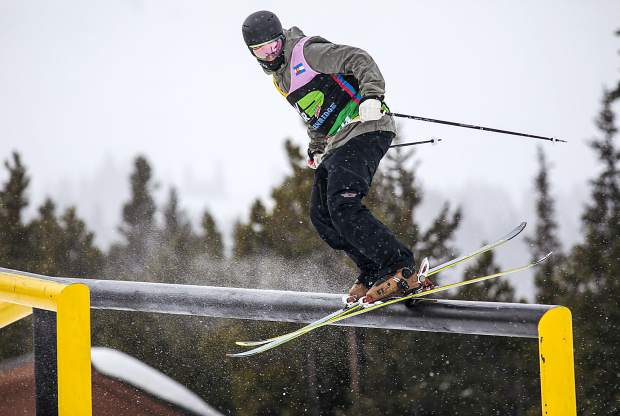 Slopestyle skier Christian Nummedal, of Norway, practices on a rail on the slopestyle course ahead of this week's Dew Tour event on Wednesday, Dec. 12, at Breckenridge Ski Resort.