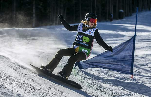 Two-time Paralympic medalist Amy Purdy, of Summit County, races down the course during the Dew Tour adaptive snowboard banked slalom women's finals on Thursday, Dec. 13, at Breckenridge Ski Resort. Purdy placed second in the finals.