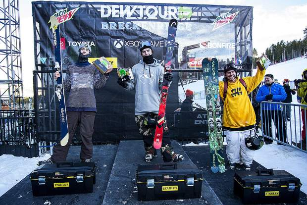 From left to right, Alex Hall, Evan Mceachran, and Henrik Harlaut following the men's superpipe snowboard finals of Dew Tour Saturday, Dec. 15, at Breckenridge Ski Resort.