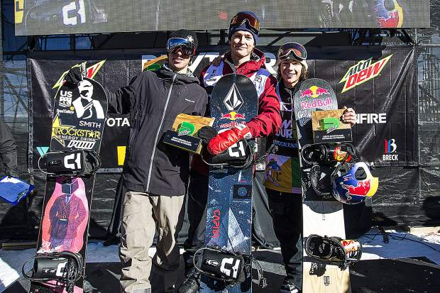 From left to right, Chase Josey, Scotty James, and Toby Miller following the men's superpipe snowboard finals of Dew Tour Saturday, Dec. 15, at Breckenridge Ski Resort.