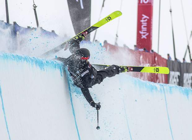 Freeskier Kevin Rolland, of France, crashes on the halfpipe wall during the qualifiers at the Toyota U.S. Grand Prix competition on Wednesday, Dec. 5, at Copper Mountain Resort. Rolland did not qualify for finals.