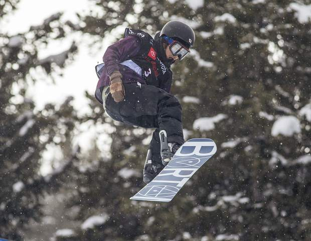 Raibu Katayama, of Japan, executes a trick during the Toyota U.S. Grand Prix halfpipe qualifiers on Thursday, Dec. 6, at Copper Mountain Resort.