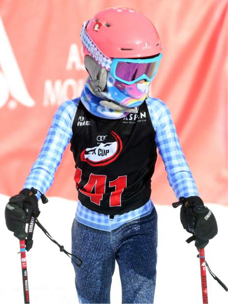 Evie Johnson, the oldest daughter of NASCAR driver Jimmie Johnson, comes off the course during the Audi Ajax Cup on Sunday, Dec. 30, 2018, on Aspen Mountain.