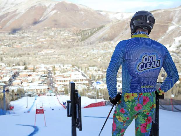 Team OxiClean's Anthony Sullivan awaits the start of his race during the Audi Ajax Cup on Sunday, Dec. 30, 2018, on Aspen Mountain.