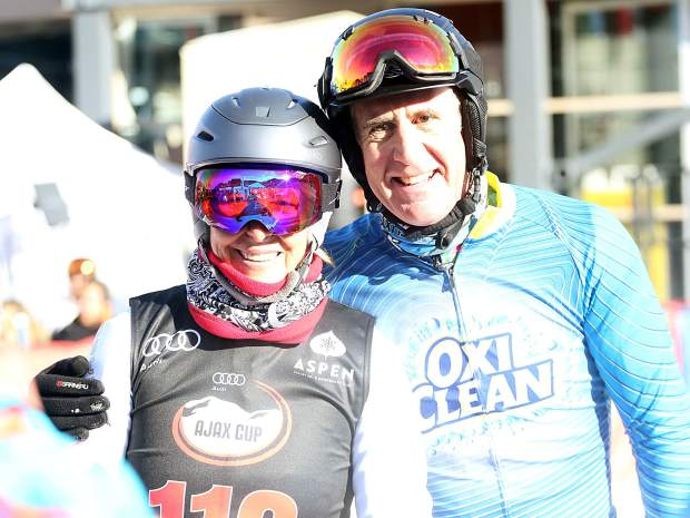 Team OxiClean's Anthony Sullivan, right, and tennis legend Martina Navratilova pose for a picture during the Audi Ajax Cup on Sunday, Dec. 30, 2018, on Aspen Mountain.