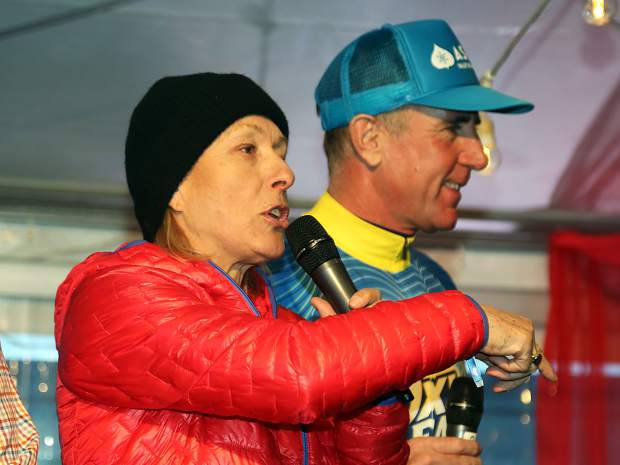 Tennis legend Martina Navratilova auctions off private tennis lessons as part of the Audi Ajax Cup on Sunday, Dec. 30, 2018, at the base of Aspen Mountain.