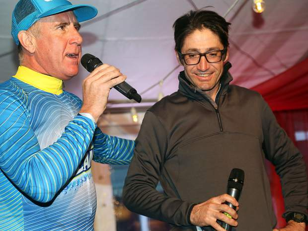 OxiClean's Anthony Sullivan introduces Glenwood Springs native and former professional cyclist Bobby Julich during the post-race party at the Audi Ajax Cup on Sunday, Dec. 30, 2018, at the base Aspen Mountain.