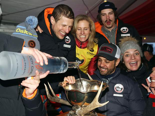 Team Super G! celebrates after winning the Audi Ajax Cup on Sunday, Dec. 30, 2018, on Aspen Mountain.