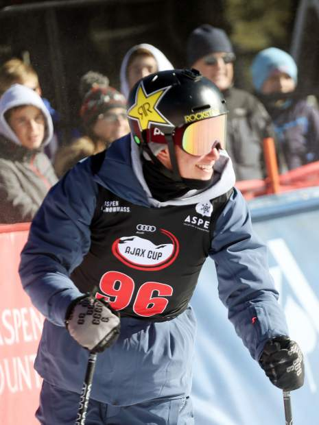 Aspen Olympic halfpipe skier Alex Ferreira smiles while competing in the Audi Ajax Cup on Sunday, Dec. 30, 2018, on Aspen Mountain. (Photo by Austin Colbert/The Aspen Times)