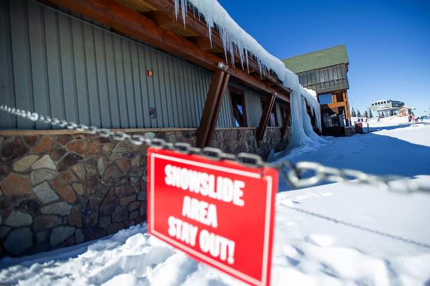 Ice builds up on the roof of the Sundeck Restaurant on Aspen Mountain. The roof is scheduled to be replaced next summer. Extra insulation is expected to end the ice build-up.