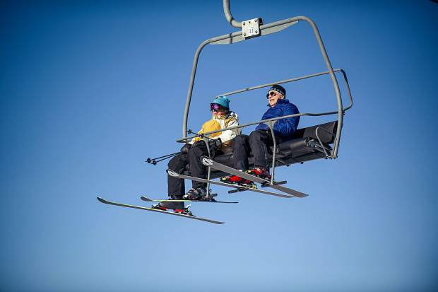 Skiers ride up the Gent's Ride Lift, aka 'The Flying Couch.' The slow-going lift might be removed in the future if ridership falls after the Pandora chairlift is added.