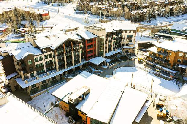 An aerial photo of Base Village on Dec. 7.