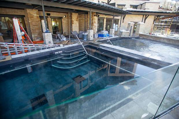 Hot tubs at the Limelight Hotel in Snowmass Base Village on Dec. 7.