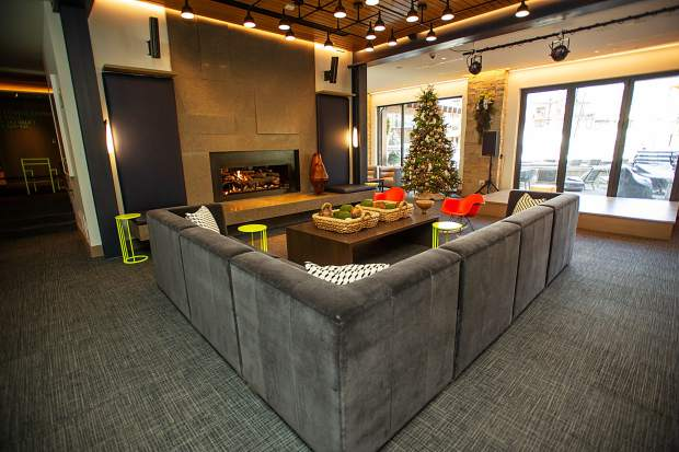 The lounge in the new Limelight Hotel in Snowmass.