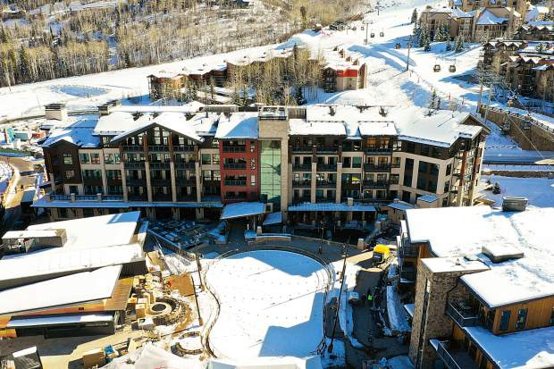 An aerial shot on Dec. 7 of the latest phase of Snowmass Base Village, which will host its grand opening on Saturday. See story for more details.