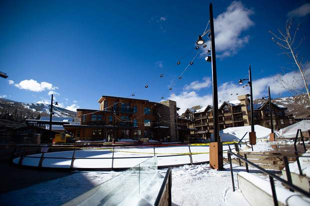 The ice skating rink in Snowmass Base Village Dec. 7.