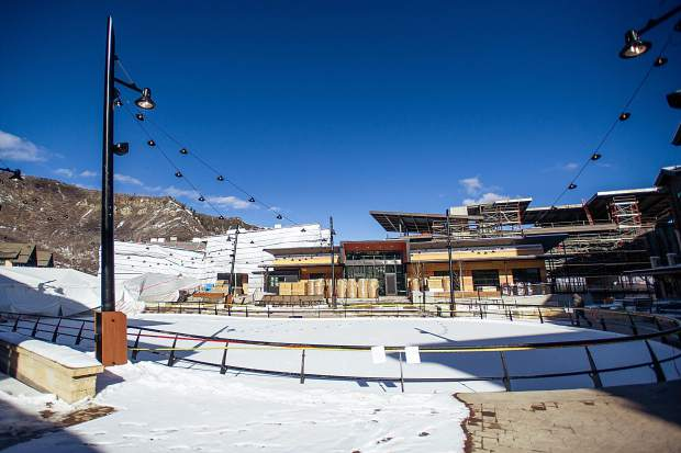 The ice skating rink in Snowmass Base Village on Dec. 7.