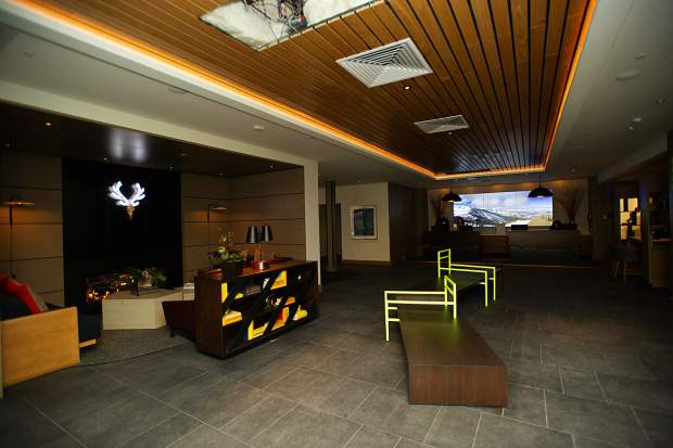 The lobby at the new Limelight Hotel in Snowmass.