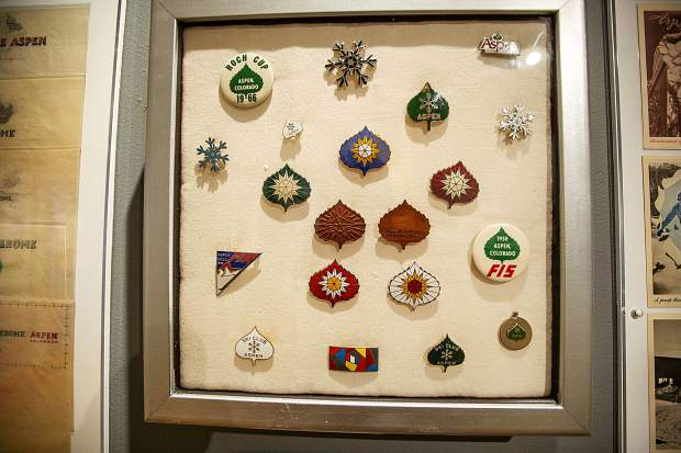 Aspen pins created from Herbert Bayer's design at the Bayer and Bauhaus exhibit,