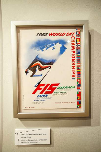 One of Herbert Bayer's skier profile progressions at the Bayer and Bauhaus exhibit,