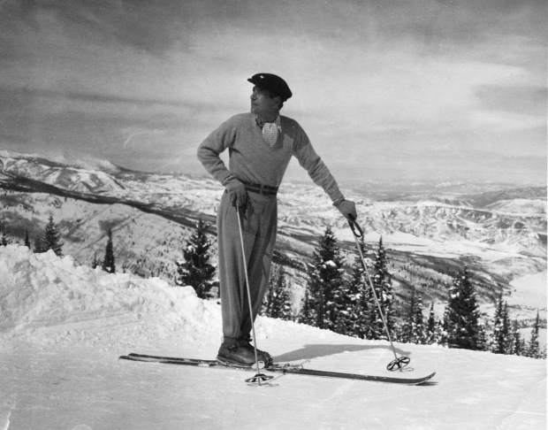 Herbert Bayer skiing on Aspen Mountain in 1947.