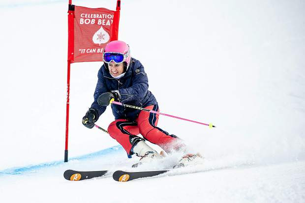 Former ski racer Tamara McKinney competes at the the celebration of Bob Beattie at Aspen Highlands on Saturday.