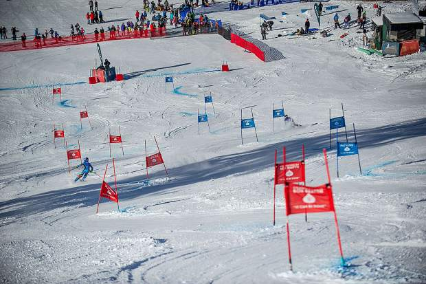 Racers compete at the the celebration of Bob Beattie's life Saturday at Aspen Highlands.