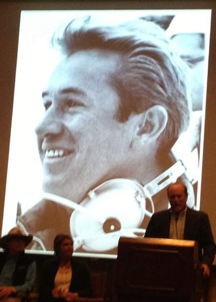 Zeno Beattie speaks at a celebration of his dad's life Saturday night as Bob Beattie's image shows on the screen behind him. More than 300 people attended the celebration at the Hotel Jerome.