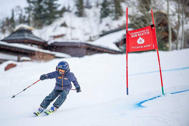 Keller Tudge, 7, races at the the celebration of Bob Beattie at Aspen Highlands on Saturday.