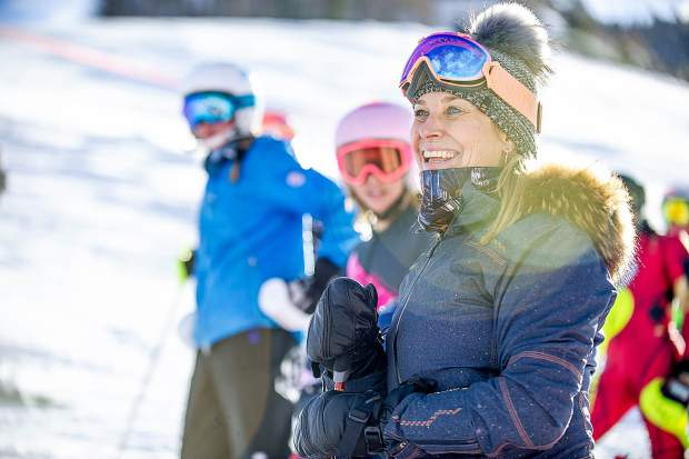 Former ski racer Heidi Voelker smiles at the the celebration of Bob Beattie at Aspen Highlands on Saturday.