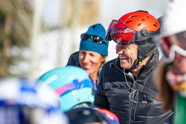 Former ski racer Otto Tschudi smiles at the the celebration Bob Beattie Saturday afternoon.