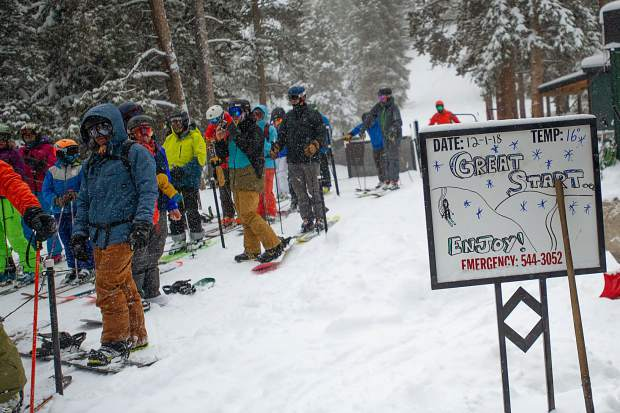 The Loge lift sign referring to the powder day opening on Saturday.